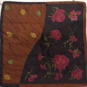 SCARF Red & Yellow Roses in Brown background